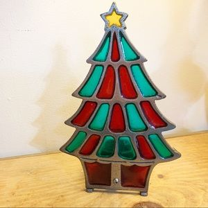Vintage stained glass X mas tree votive holder